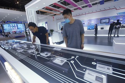 China's homegrown AI chips are on display at the 2021 World Artificial Intelligence Conference in Shanghai, July 7, 2021. [Photo/VCG]